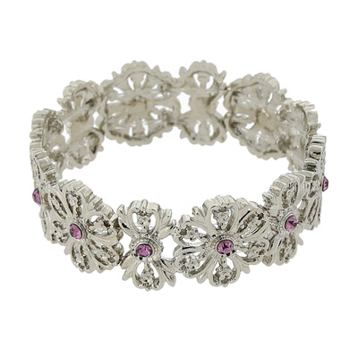 Silver Tone Purple Flower Stretch Bracelet