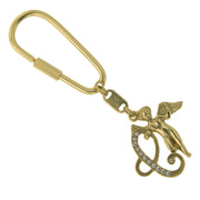 Gold Tone Crystal Monogram Initial Angel Key Fobs C