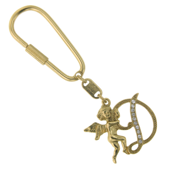 Fashion Jewelry - D Golden Angel Initial Key Ring