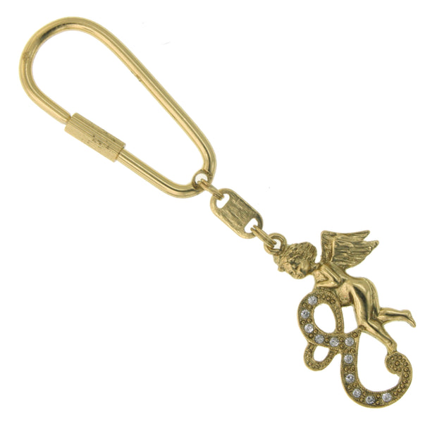 Gold Tone Crystal Monogram Initial Angel Key Fobs E