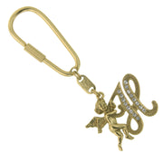 Gold-Tone Crystal Monogram Initial Angel Key Fobs H