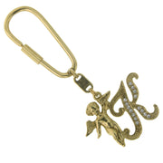Gold-Tone Crystal Monogram Initial Angel Key Fobs K
