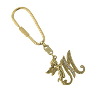 Gold-Tone Crystal Monogram Initial Angel Key Fobs M