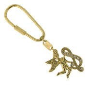 Gold Tone Crystal Monogram Initial Angel Key Fobs S