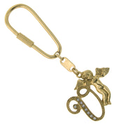 Gold Tone Crystal Monogram Initial Angel Key Fobs V