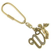 Gold Tone Crystal Monogram Initial Angel Key Fobs W