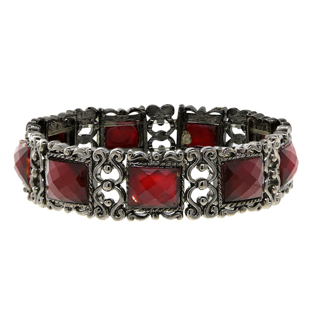 Black-Tone Red Rectangle Stone Stretch Bracelet