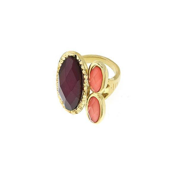 1928 Jewelry Gold-Tone Raspberry & Peach Ring Size 8
