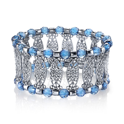 Silver-Tone Blue Color Filigree Stretch Bracelet