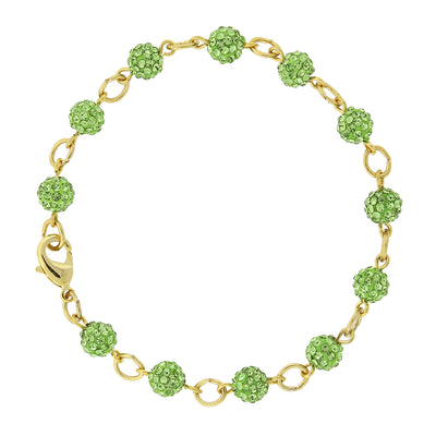 Gold Tone Green Crystal Fireball Pave Clasp Bracelet