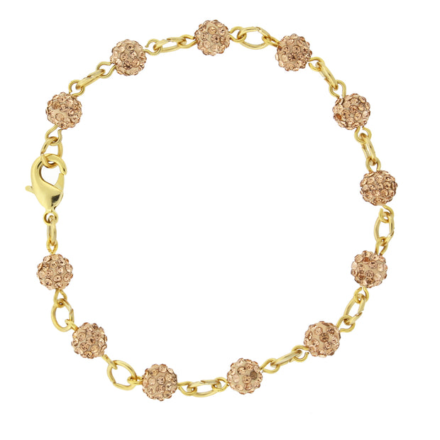 Gold Tone Peach Crystal Fireball Pave Clasp Bracelet