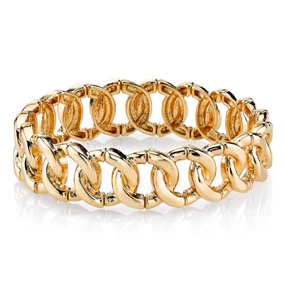 Gold Tone Stretch Link Bracelet