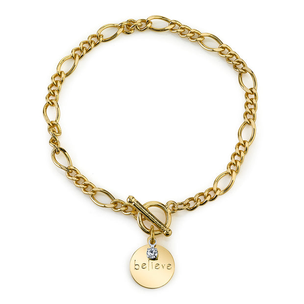 14K Gold-Dipped Bracelet Believe Crystal Charm