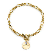 14K Gold-Dipped  Peace  Toggle Bracelet