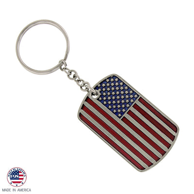 Silver Tone Flag Dog Tag Key Chain