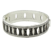 Silver Tone Black Enamel Aeon Hinged Bangle