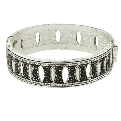 Silver-Tone Black Enamel Aeon Hinged Bangle