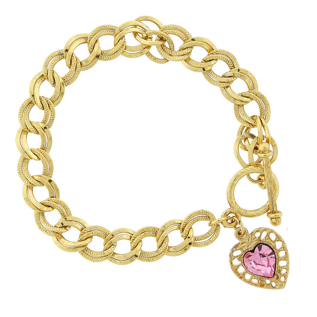 14K Gold Dipped Pink Swarovski Elements Heart Toggle Bracelet