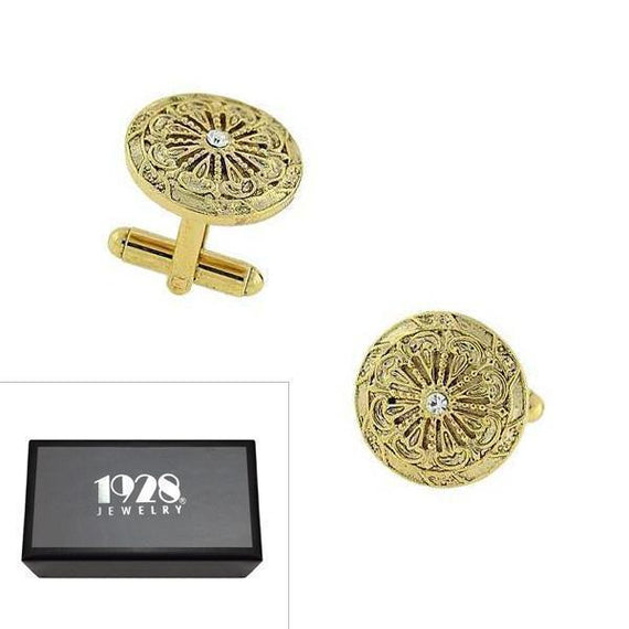 14K Gold Dipped Crystal Round Cuff Links