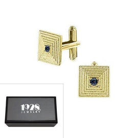 14K Gold Dipped Blue Crystal Square Cufflinks