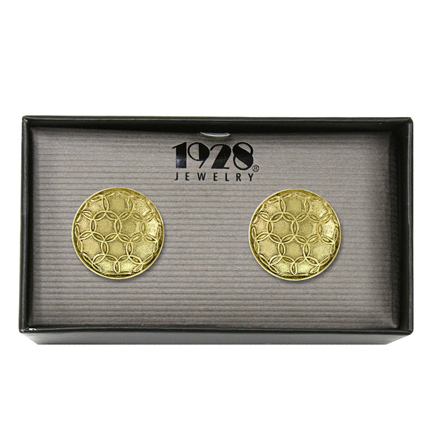 14K Gold Dipped Large Round Shield Cuff Links
