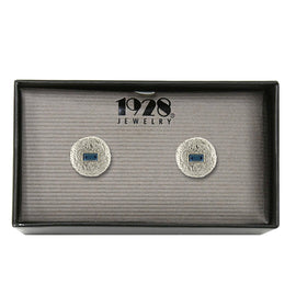 1928 Jewelry: 1928 Jewelry - Silver-Tone Blue Crystal Small Round Cuff Links