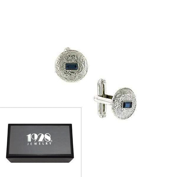 Silver-Tone Blue Crystal Small Round Cufflinks