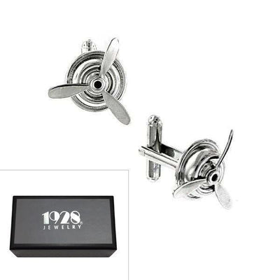 Silver-Tone Airplane Propeller Cufflinks