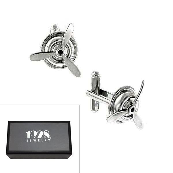Silver Tone Airplane Propeller Cufflinks
