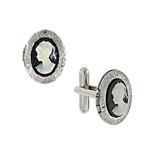 Silver-Tone Black Cameo Oval Locket Cufflinks