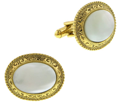 14K Gold Dipped Costume Mother Of Pearl Oval Cufflinks