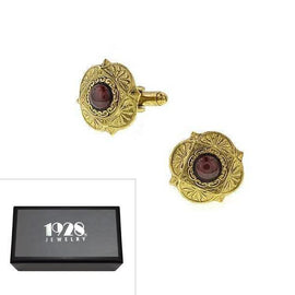Fashion Jewelry - 14K Gold-Dipped Semi-Precious Garnet Cabochon Cuff Links