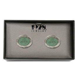 1928 Jewelry: 1928 Jewelry - Silver-Tone Semi-Precious Green Aventurine Oval Locket Cuff Links