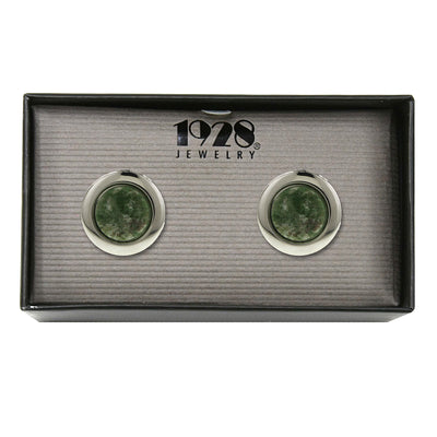 Silver-Tone Gemstone Round Locket Cufflinks