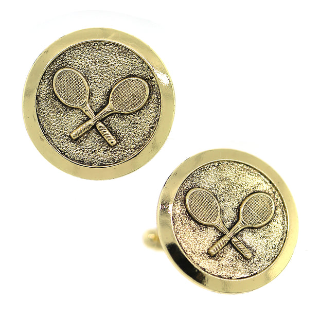 14K Gold Dipped Tennis Round Cufflinks