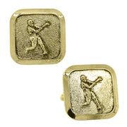 Silver Tone Baseball Player Cuff Links