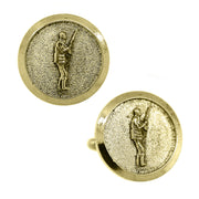 14K Gold Dipped Hunter Round Cufflinks