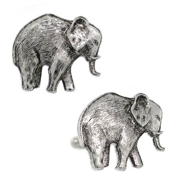 1928 Jewelry Silver Tone Elephant Cuff Links