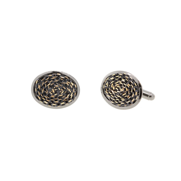 1928 Jewelry Black-Tone with Black and Gold-Tone Chain Cufflinks