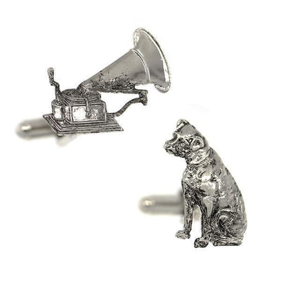Silver-Tone Dog And Phonograph Cufflinks