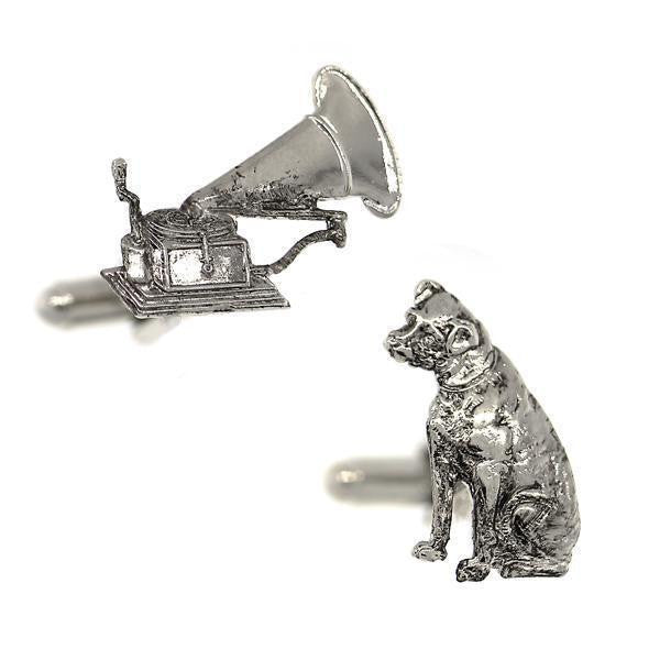 1928 Jewelry Silver-Tone Dog and Phonograph Cufflinks