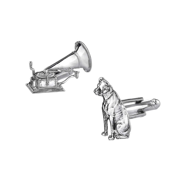 1928 Jewelry 14K Gold Dipped Dog and Phonograph Cufflinks