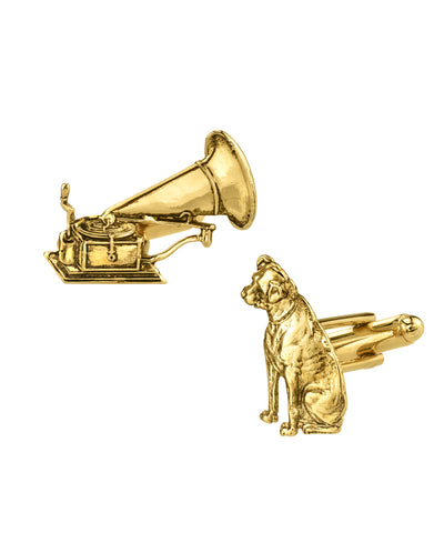 14K Gold Dipped Dog And Phonograph Cufflinks Gold