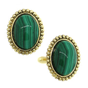 14K Gold Dipped Gemstone Green Malachite Oval Cufflinks