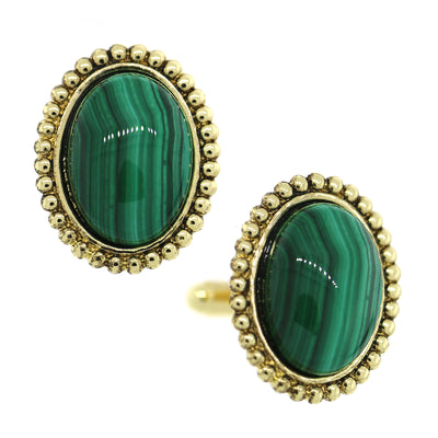 1928 Jewelry 14K Gold Dipped Gemstone Green Malachite Oval Cufflinks