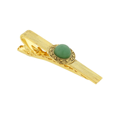 14K Gold Dipped / Green Aventurine Semi Precious Tie Bar Clip