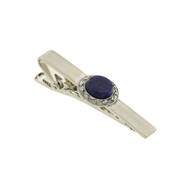 Silver Tone Gemstone Tie Bar Clip
