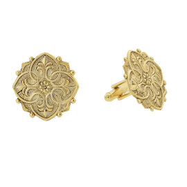 Fashion Jewelry - 14K Gold-Dipped Fleur de Lis Medallion Cuff Links