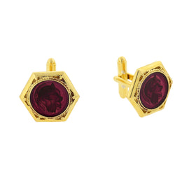 Fashion Jewelry - 14K Gold-Dipped Amethyst Color Enamel Ancient Greek Warrior Cuff Links