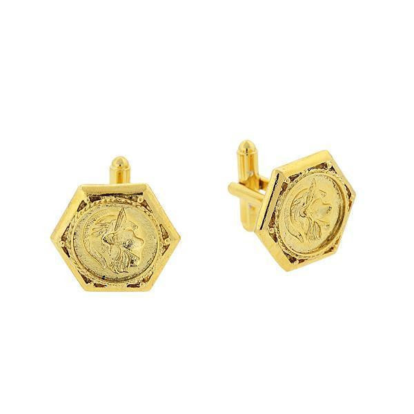 14K Gold Dipped Ancient Greek Warrior Cufflinks